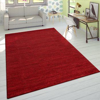 Kurzflor Teppich Einfarbig Rot Wohnzimmer