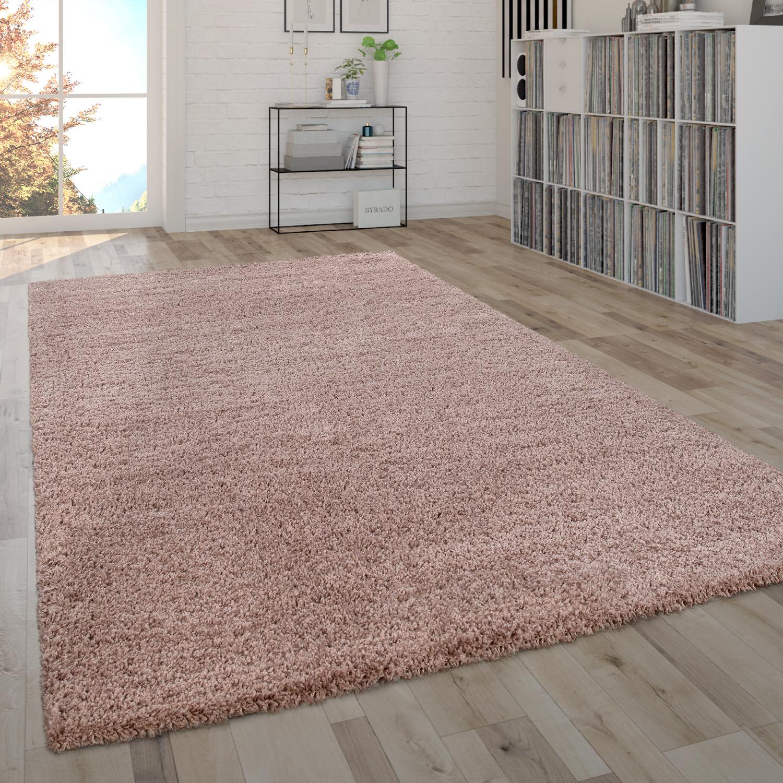 Soffice tappeto da soggiorno a pelo lungo Shaggy, pratico e moderno in tinta unita pink