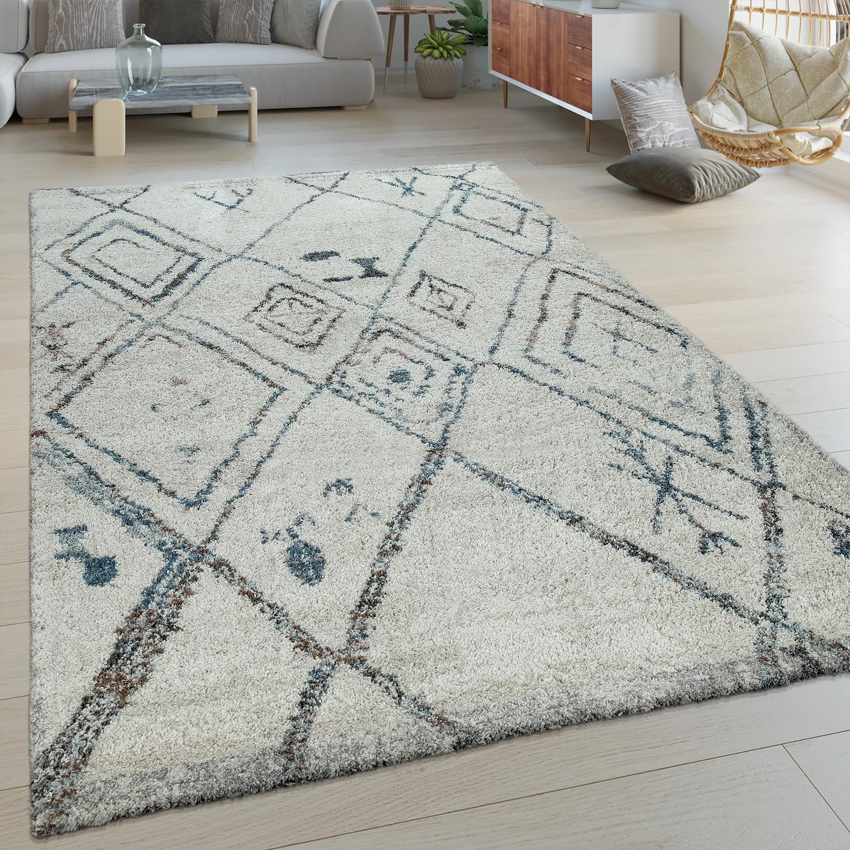 Short-Pile Living Room Rug Modern Ethnic Design Diamonds Pattern in Cream Blue