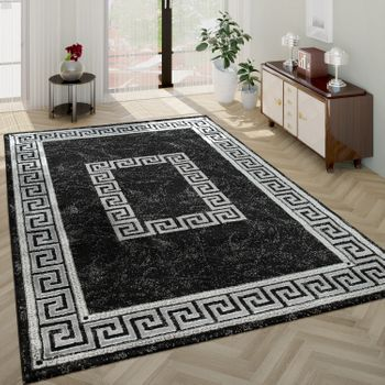 Modern Short-Pile Living Room Rug Oriental Pattern Border Anthracite – Bild 1