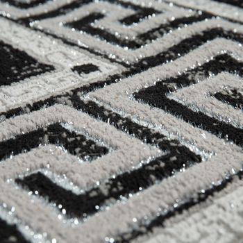 Modern Short-Pile Living Room Rug Oriental Pattern Border Anthracite – Bild 3