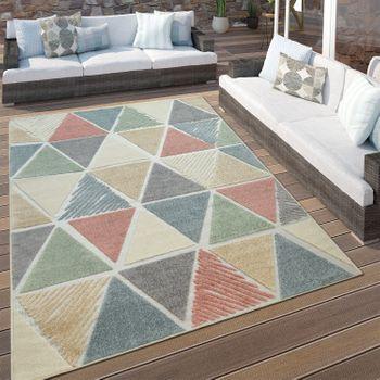Indoor & Outdoor Terraces Rug Diamond Pattern Modern Geometric Design Colourful – Bild 1