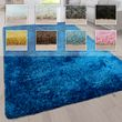 Hochflor Teppich Waschbar Einfarbig Versch. Größen u. Farben 001