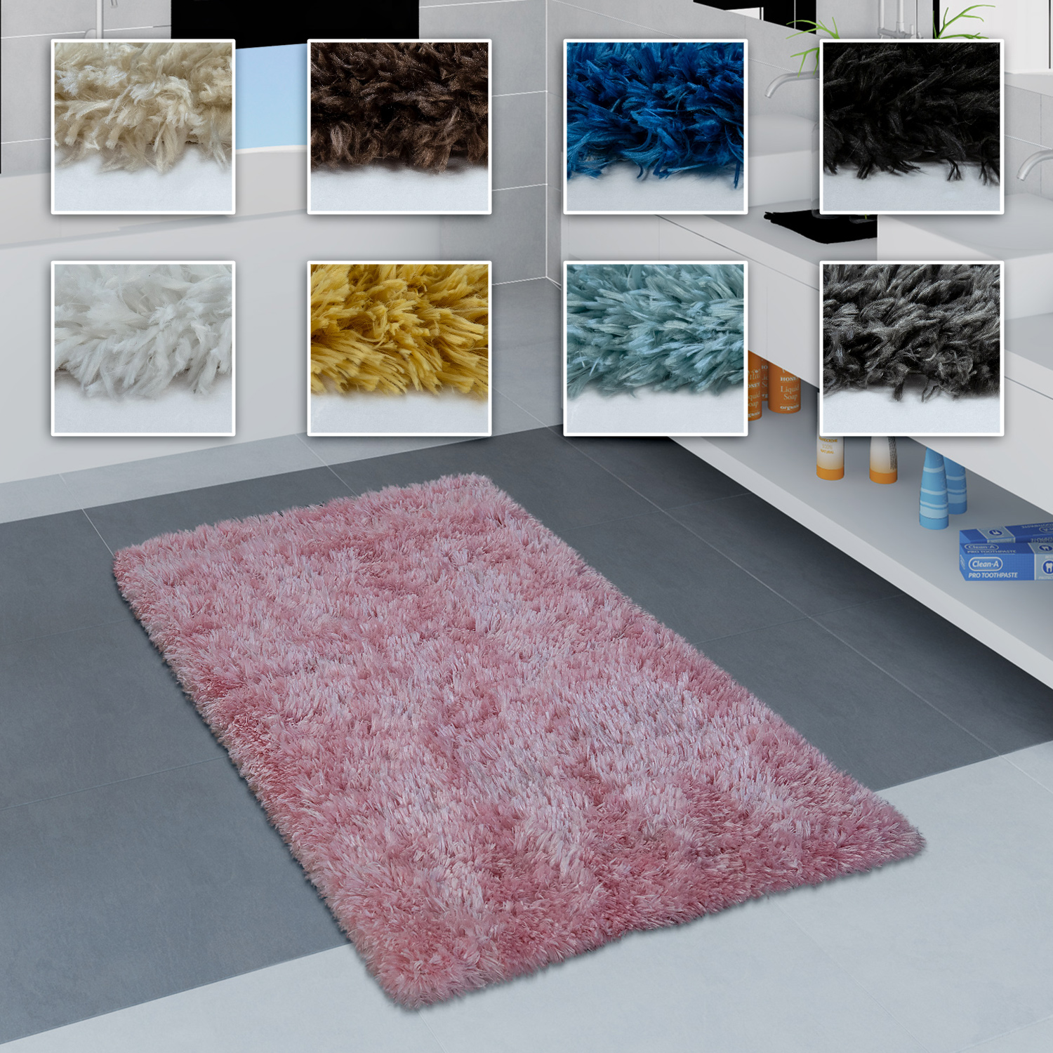Modern Bath Mat Bathroom Rug Shaggy Soft In Various Sizes And Colours