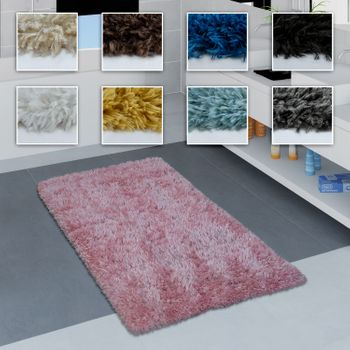 Bathroom Rug Shaggy Monochrome Various Sizes And Colours