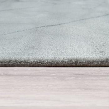 Tappeto da soggiorno a pelo corto dal design marmorizzato moderno con motivo geometrico grigio e bianco – Bild 2