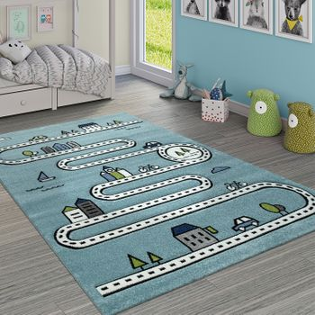 Child's Rug Children's Room Modern Educational Rug Street Car House Design In Blue – Bild 1
