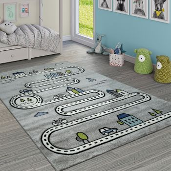 Child's Rug Children's Room Modern Educational Rug Street Car House Design In Grey – Bild 1