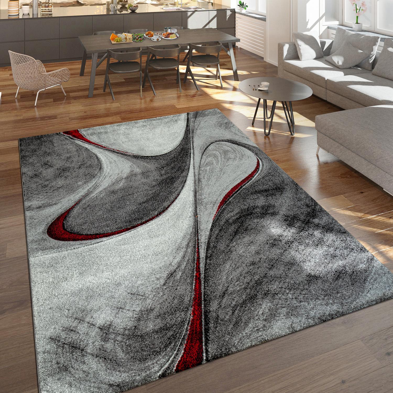 Tappeto a pelo corto dal design astratto rosso e grigio