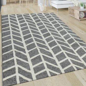 Rug Short-Pile Stripes Grey White
