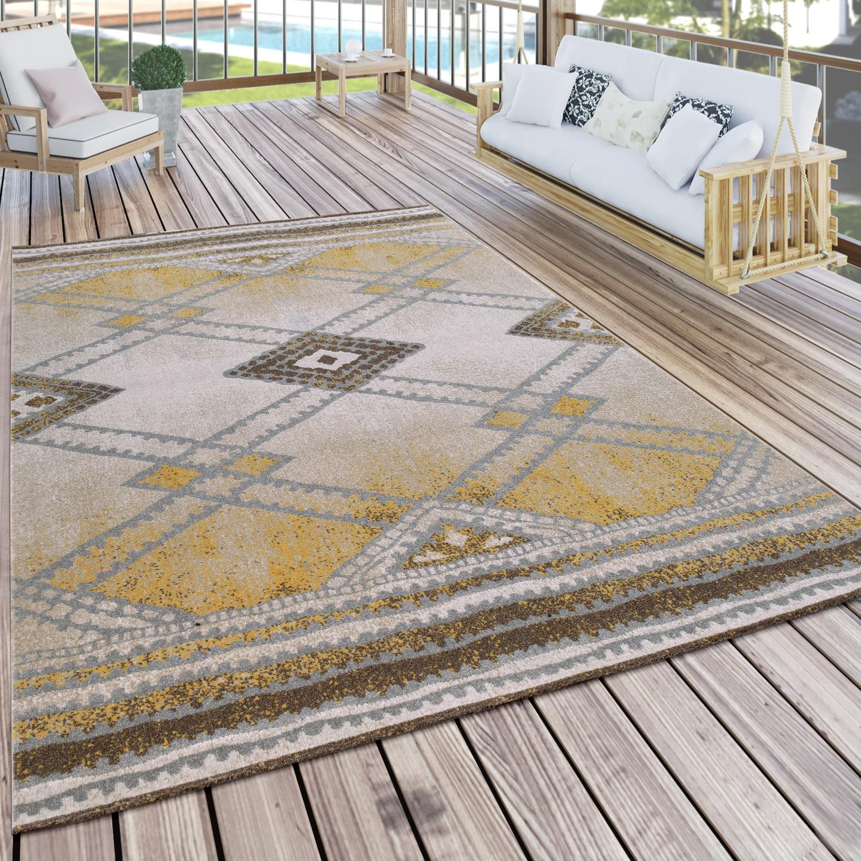 Alfombra Interior Exterior Diseño Nómada Amarillo