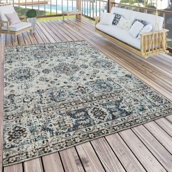 Indoor & Outdoor Rug Modern Oriental Design Terraces Rug Weatherproof Grey – Bild 1