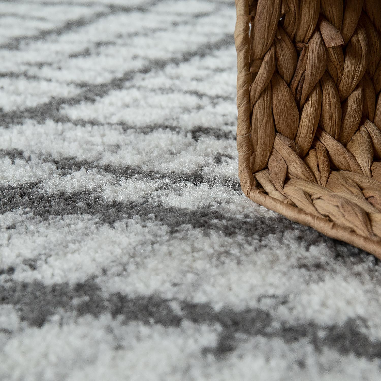 kurzflor teppich geometrisches muster grau teppichcenter24. Black Bedroom Furniture Sets. Home Design Ideas