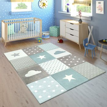 Children's Rug Checked Clouds Stars Blue Grey