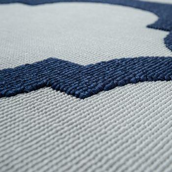 Tappeto per interni ed esterni con tessuto piatto e design marocchino a effetto 3D in bianco e blu – Bild 4