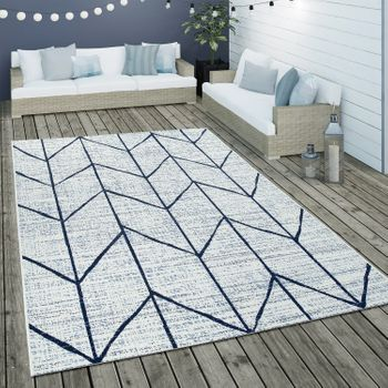 Indoor & Outdoor Flat-Weave Rug Geometric Design White