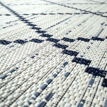In- & Outdoor Flachgewebe Teppich Geometrisch Streifen Rauten Motiv In Weiß – Bild 4