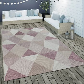 Indoor & Outdoor Flat-Weave Rug Diamond Design Purple