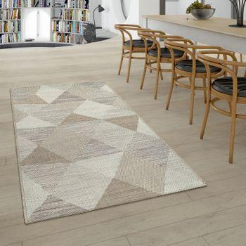 Tappeto per interni ed esterni in tessuto piatto con motivo a rombi con motivo geometrico beige  – Bild 2