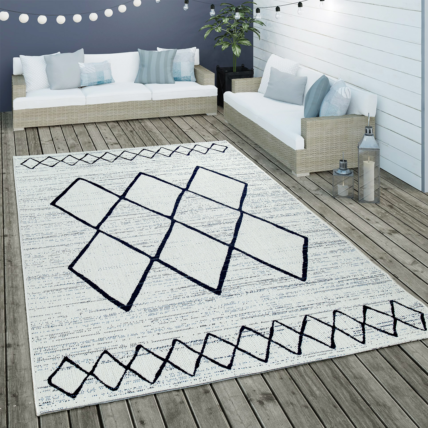 Indoor & Outdoor Flat-Weave Rug Geometric Scandinavian Motif In White Blue