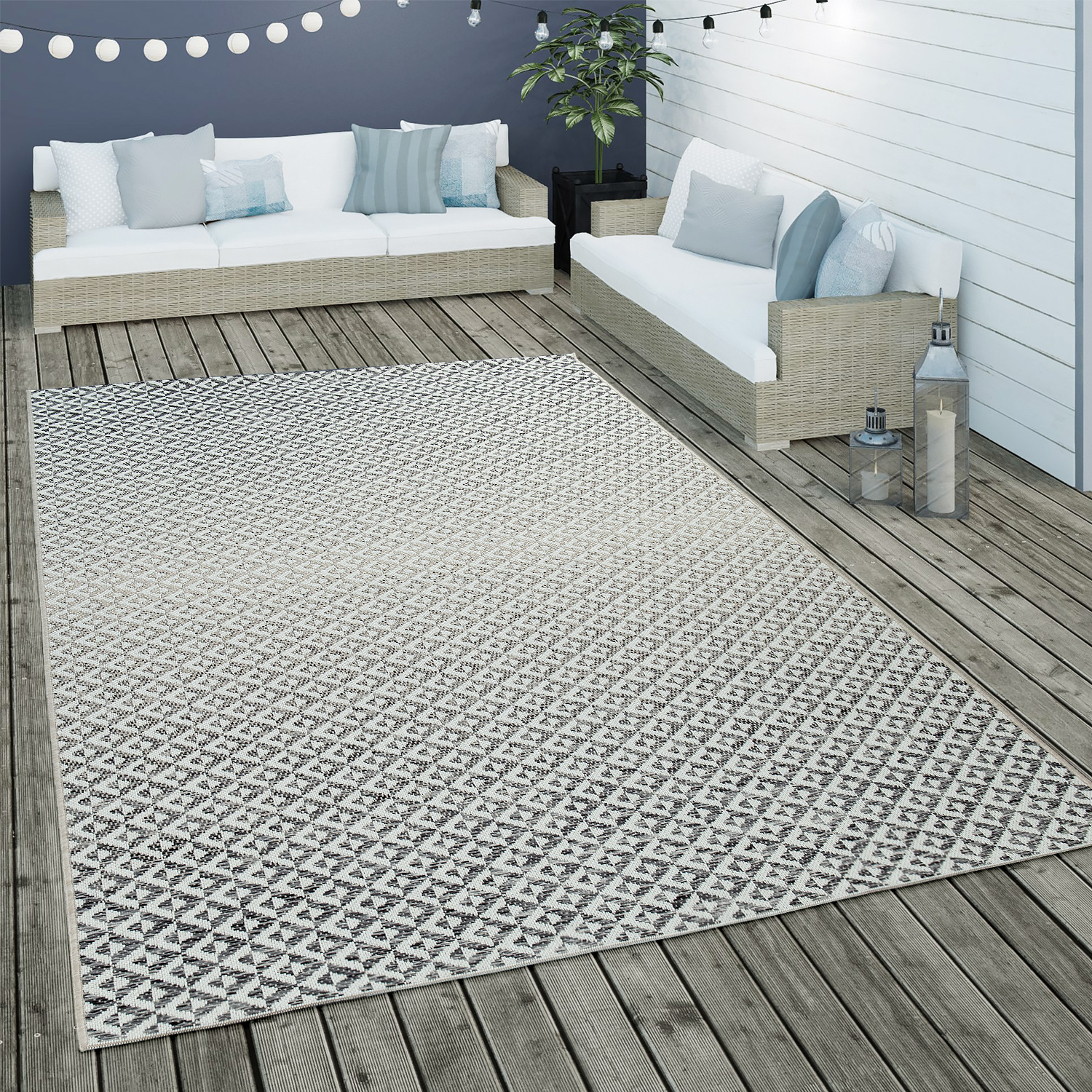 Indoor & Outdoor Flat-Weave Rug Geometric Scandi Diamond Design In Grey