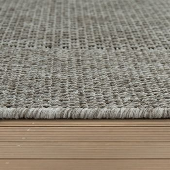 Indoor & Outdoor Flat-Weave Rug Sisal Effect Natural Look Monochrome Grey – Bild 3