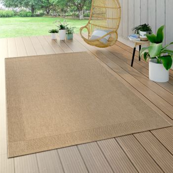 Indoor & Outdoor Flat-Weave Rug Sisal Effect Natural Look Monochrome Beige – Bild 1