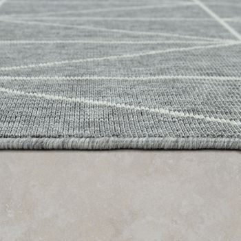 Indoor & Outdoor Short-Pile Rug 3D Effect Geometric Scandinavian Design Grey – Bild 2