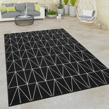 Indoor & Outdoor Short-Pile Rug 3D Geometric Scandinavian Design In Black – Bild 1