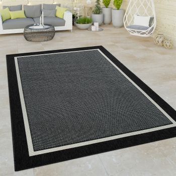 Indoor & Outdoor Short-Pile Rug 3D Effect Border Plain Natural Look In Black – Bild 1