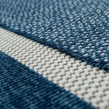 Outdoor Indoor Teppich Blau Balkon 3D Optik Bordüre Natürlicher Look Kurzflor – Bild 4