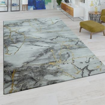 Short-Pile Rug Marble Design Grey Gold