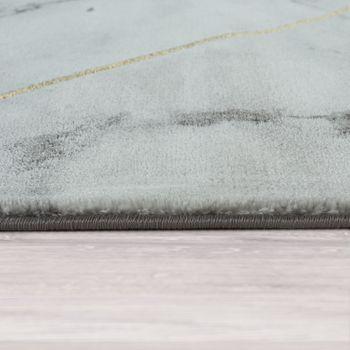 Short-Pile Living Room Rug Modern Marble Design Geometric Pattern Grey Gold – Bild 2