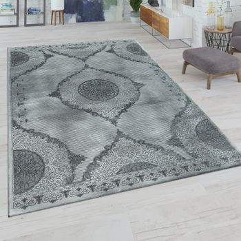 Short-Pile Living Room Rug Oriental Design Embellishments Border In Grey – Bild 1