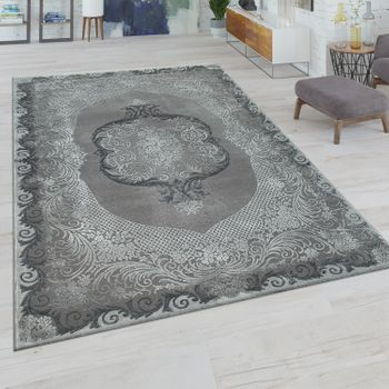 Short-Pile Rug Oriental Design Grey