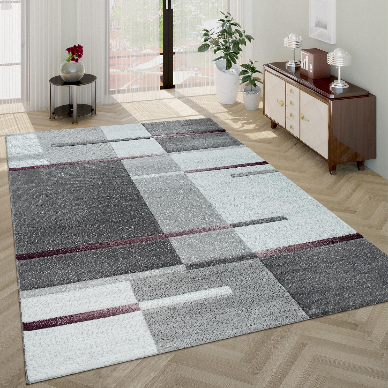 kurzflor teppich karo muster lila grau teppichcenter24. Black Bedroom Furniture Sets. Home Design Ideas