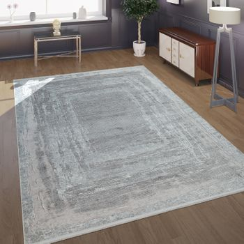 Modern Short-Pile Living Room Rug In The Antique Oriental Pattern In Grey  – Bild 1