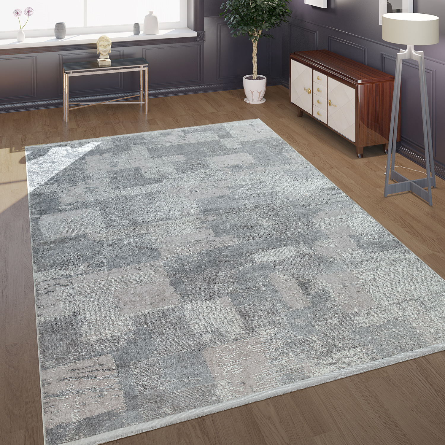 Modern Short-Pile Living Room Rug In The Antique Check Pattern In Grey