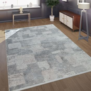 Modern Short-Pile Rug Check Pattern Grey
