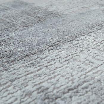 Moderno tappeto da soggiorno a pelo corto con motivo a quadri antico in grigio  – Bild 3