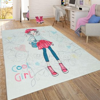 Trendy Flat-Weave Children's Room Girl Rug Pastel Colours Blond Colourful – Bild 1