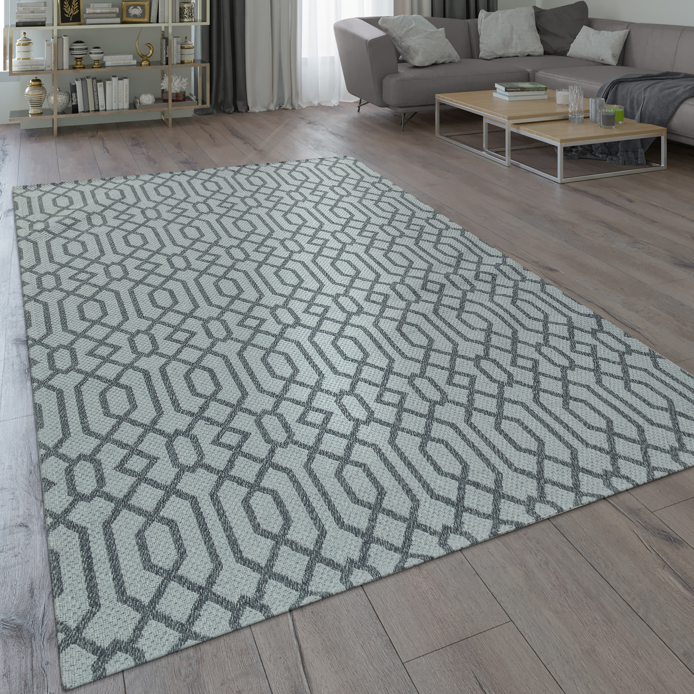 Teppich Skandi-Design Flecht-Muster Grau