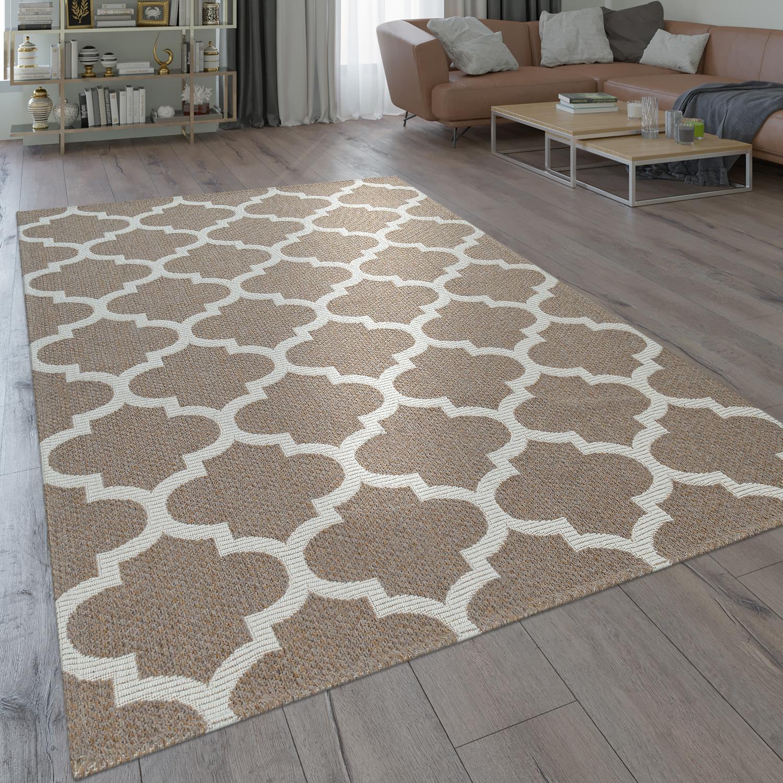 Modern Flat-Weave Rug Woven Pattern Oriental Moroccan Design In Beige