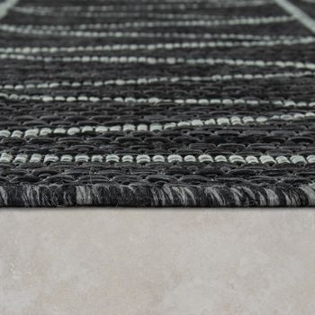 Indoor & Outdoor Flat-Weave Rug Modern Ethnic Pattern Zigzag Design Black  – Bild 2