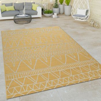 Indoor & Outdoor Flat-Weave Rug Modern Ethnic Pattern Zigzag Design In Yellow  – Bild 1