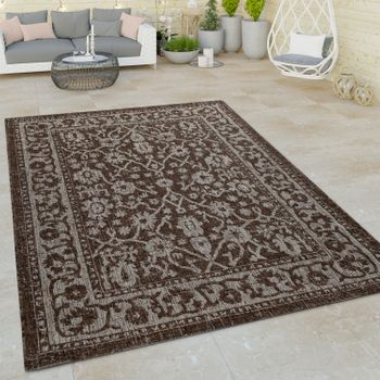 Indoor & Outdoor Flat-Weave Rug Modern Border Oriental Design Embellishments Brown  – Bild 1