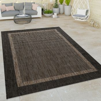 Indoor & Outdoor Flat-Weave Rug Modern Border Oriental Motif Brown – Bild 1