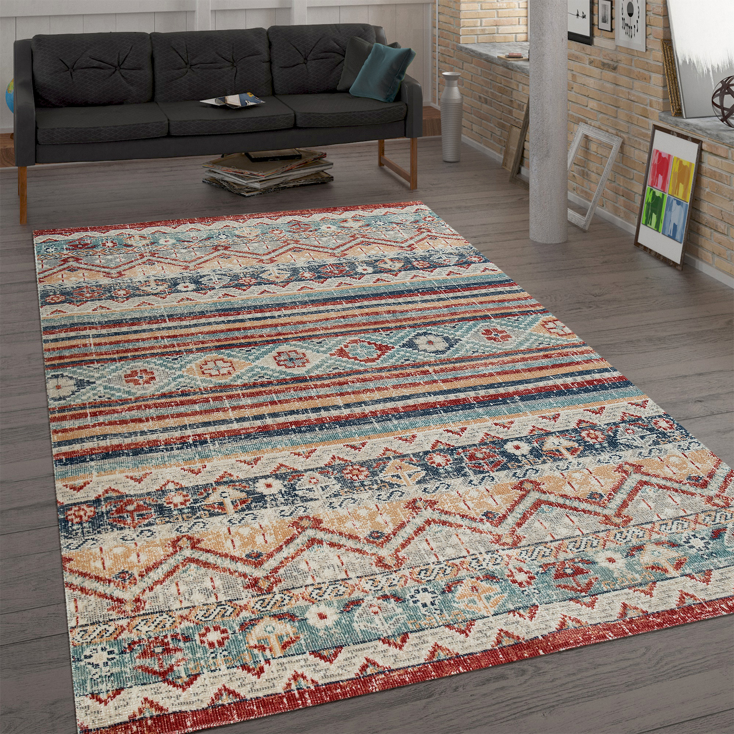 Trendy Flat-Weave Rug Vintage Oriental Used Effect Shabby Chic Multi-Coloured