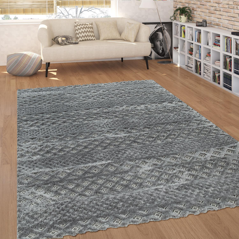 GroBartig Moderner Kurzflor Wohnzimmer Teppich Zickzack Muster Hoch Tief Struktur In  Grau
