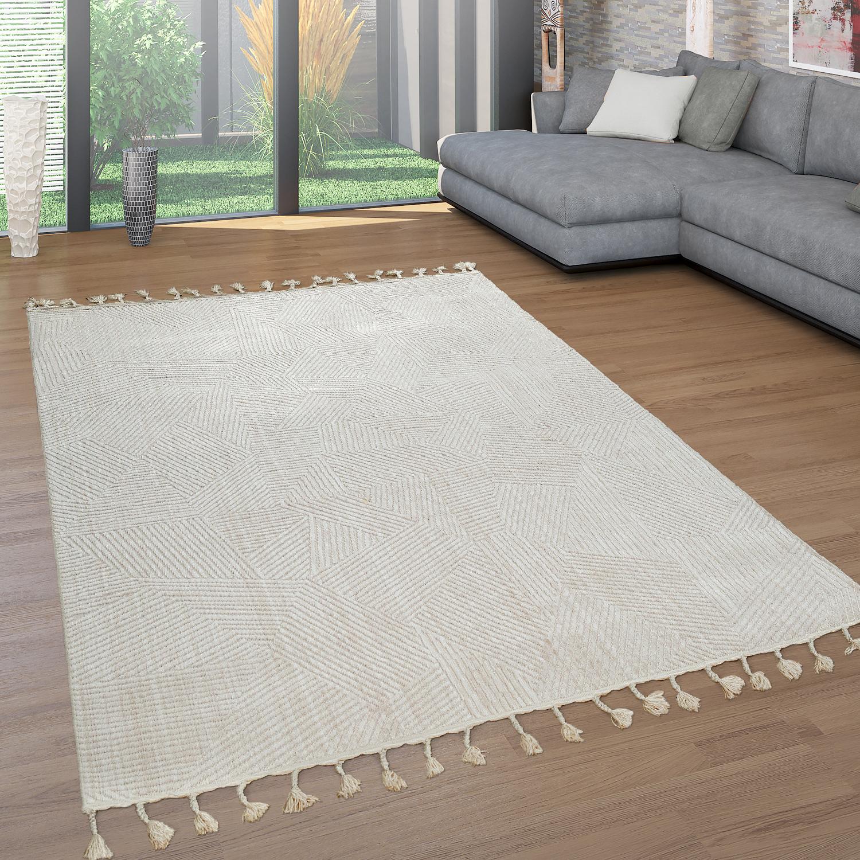 Teppich Mit Fransen : kurzflor teppich retro muster beige teppichcenter24 ~ Watch28wear.com Haus und Dekorationen